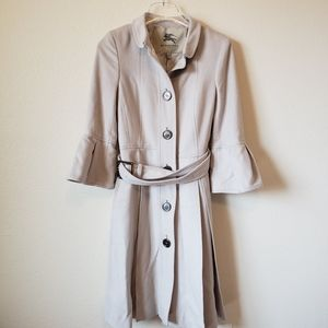 Burberry Woman's Trench Coat Bell Sleeve Pleated